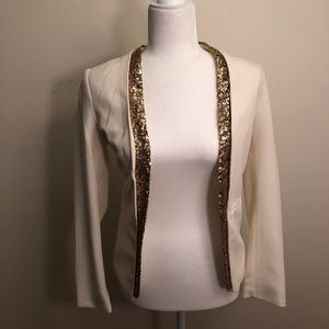 White and gold sequin blazer